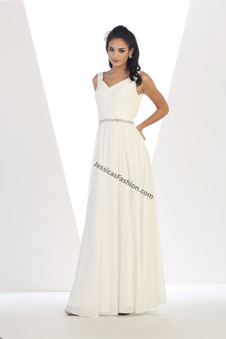 Shoulder Straps Sequins PLUS Size Chiffon Bridal Dress- LAMQ1400B