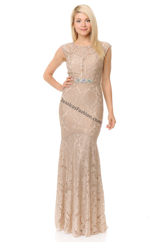 Cap Sleeve Rhinestone Long Lace Dress- LA5199
