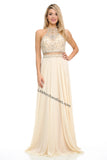 Halter Rhinestones Long Chiffon Dress- LA8122