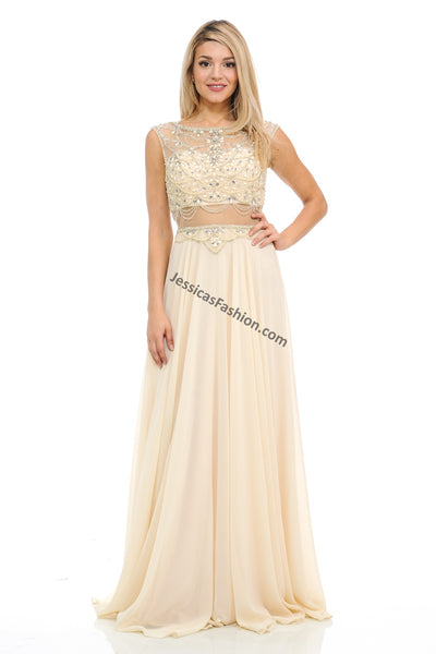 Cap Sleeve Sequins & Rhinestones Long Chiffon Dress- LA8121