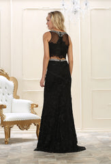Sleeveless lace rhinestone top with long skirt lace- LARQ7579