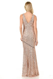 Shoulder Straps Sequins Long Dress- LA5150