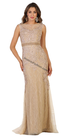 Sleeveless Embroiderer & Sequins Mesh Dress- LARQ7524