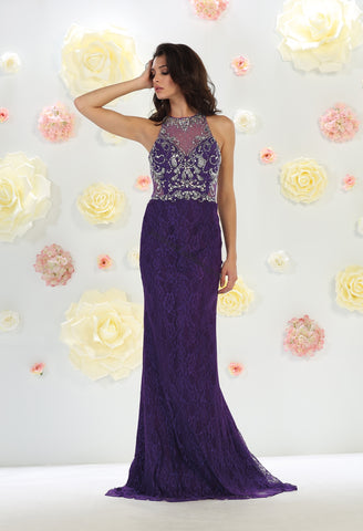 Sleeveless Rhinestone Full Length Mesh Dress- LAMQ1438
