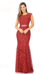 Cap Sleeve Sequins Long Lace Dress- LA5205