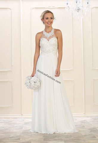 Halter Embroider & Rhinestone Chiffon Bridal Dress- LAMQ1557B