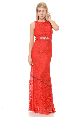 Sleeveless Rhinestone & Lace Dress- LA5169