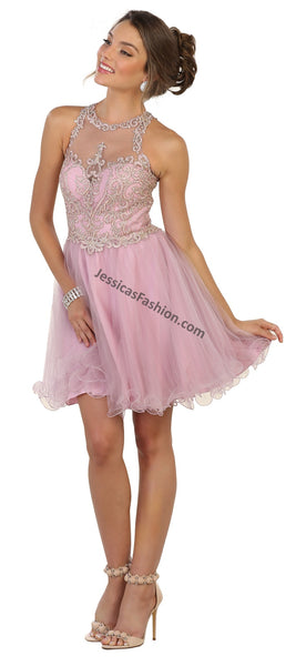 Sleeveless Sequins & Rhinestones Short Mesh Dress- MQ1509