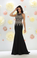 Halter Metallic Lace Applique & Ity Mermaid Dress- LARQ7484