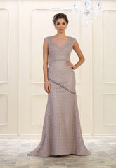 Cap sleeve pearls & sequins long mesh material- LARQ7557