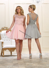 Cap Sleeve Embroidere Rhinestones Short Sassy Chiffon Dress- LAMQ1567