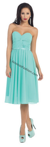 Strapless Pleated Short Chiffon Dress- LAMQ1161
