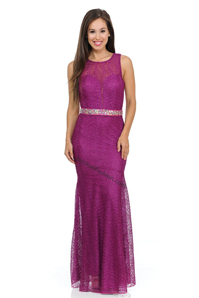Sleeveless Rhinestone & Lace Mesh Dress- LA5166