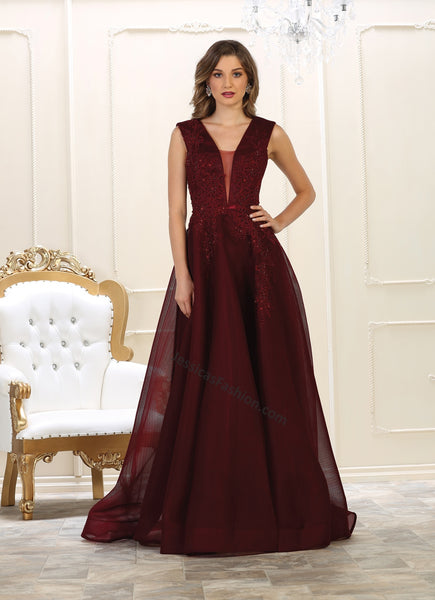 Sleeveless embroiderer & sequins long mesh ballgown- LARQ7606