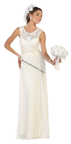Sleeveless Embroiderer & Rhinestone Chiffon Bridal Dress- MQ1519B
