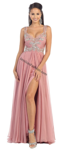 Sleeveless Sequins Chiffon PLUS SIZE Dress With High Front Slit- LARQ7146