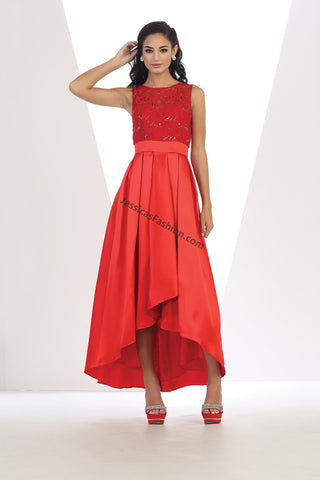 Sleeveless Sequins High Low Satin Dress- LAMQ1411