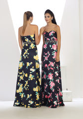 Strapless Sequins Floral Satin Dress- LAMQ1403