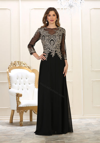 Quarter Sleeve Lace Applique & Rhinestone Chiffon PLUS SIZE Dress- LAMQ1549
