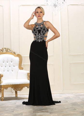 High Neck Low Back & Rhinestones Full Length Ity Dress- LAMQ1548