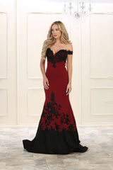 Off Shoulder Lace Applique Rhinestone Ity Dress- LARQ7499