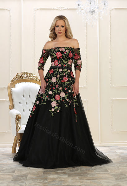 Off shoulder floral embroidere & sequins mesh ballgown- LARQ7619