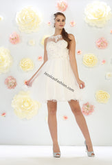 Lace Applique & Rhinestone Short Mesh Bridal Dress- LAMQ1429B