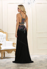 Shoulder Straps Sequins & Long Mesh Dress- LARQ7597