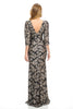 Quarter Sleeve Lace & Sequins Long Dress- LA5197