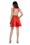 Sleeveless Sequins Short Sassy Satin Dress- LAPY7640