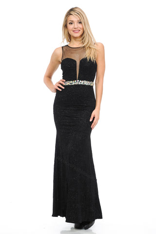 Sleeveless Rhinestone Long Ity Dress- LA5164