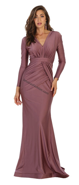 Long Sleeve Full Length Ity Dress- LAMQ1530