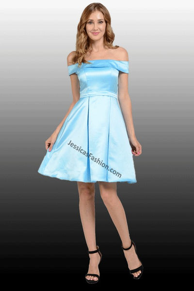 Off The Shoulder Short Satin Dress With Side Pockets- LAPY7992