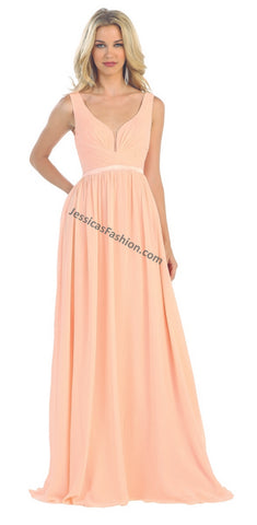 Long Sleeveless Chiffon PLUS Size Dress- LAMQ1225