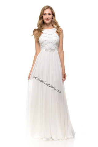 Shoulders straps sequins chiffon bridal dress- LA5191B