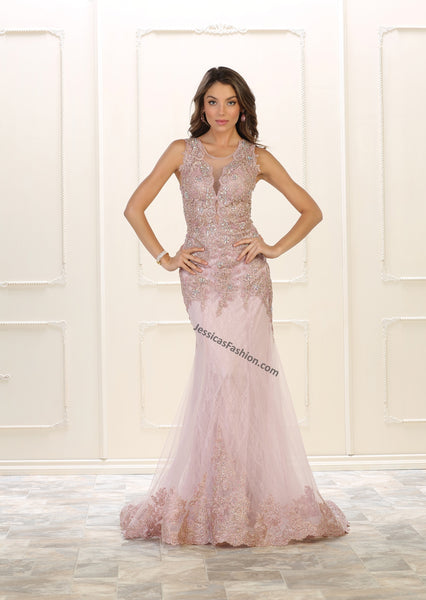 Sleeveless Sequins & Rhinestones Mesh Mermaid Dress- LARQ7537