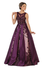 Sleeveless embroiderer & sequins mesh satin ballgown- LARQ7516