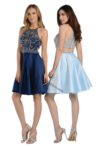 Sleeveless Rhinestone Short Sassy Satin Dress- LAPY8083