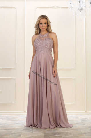 Halter embroider & rhinestone chiffon dress- LAMQ1557