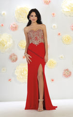 Strapless Metallic Lace Applique Ity Dress With High Front Slit- LAMQ1440