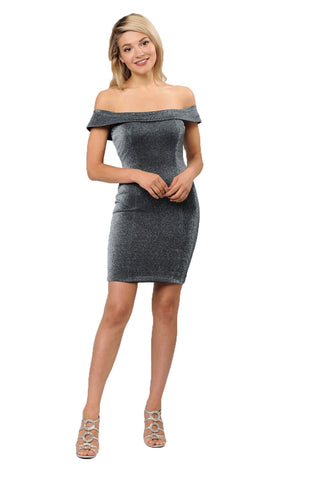 Off Shoulders Metallic Short Dress - LAPY8234