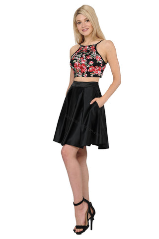 Halter Embroiderer & Rhinestone Top With Short Skirt- LAPY8266