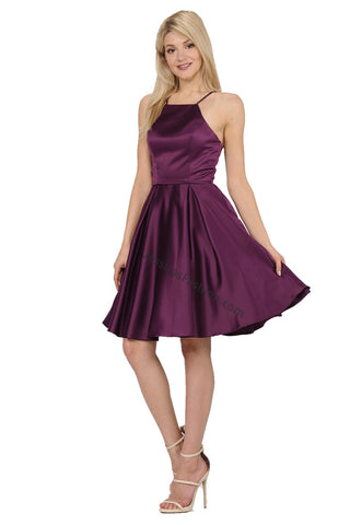 Criss Cross Short Satin Dress With Side Pockets- LAPY8312