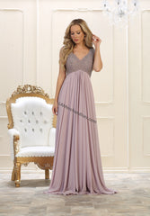 Sleeveless Rhinestone Long Pleated Chiffon Dress- RQ7512