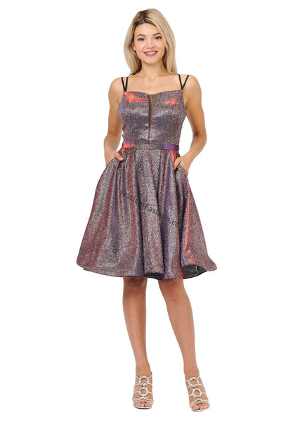 Criss Cross Metallic Short Dress- LAPY8442