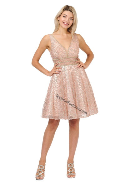 Sleeveless Fully Beaded Short Sequins Dress- LAPY8444