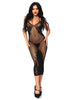 Leg Avenue Seamless Net & Lace Dual Strap Halter Dress With Faux Lace Up Back- LA86064