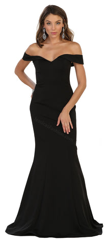 Off Shoulders Full Length Ity Dress- LAMQ1547