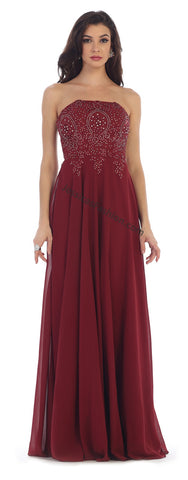Strapless Lace Applique Sequins PLUS Size Chiffon Dress- LAMQ1277