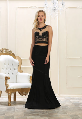 Sleeveless sequins top & long taffeta skirt- LARQ7590